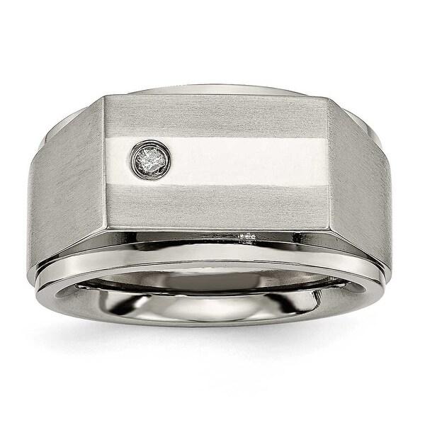 Chisel Titanium with (0.05ct) Diamond Ring (9 mm)