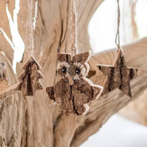 RusticReach Wood Tree Ornament in Various Shapes Randomly Picked Set of 5