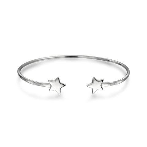 Patriotic Lucky Stars Rock Star Bangle Cuff Bracelet For Women For Teen Polished 925 Sterling Silver