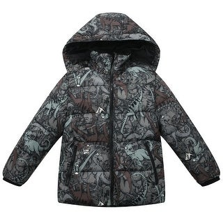 Richie House Boys' Padded Jacket with all over printed and detachable hood