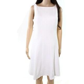 Tommy Hilfiger NEW White Ivory Womens Size 8 Boat-Neck Skater Dress