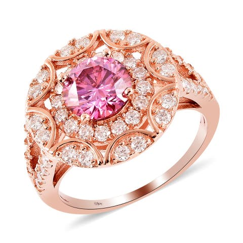 Shop LC Rose Gold Over 925 Silver Moissanite Halo Ring Ct 2.5