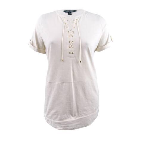 Lauren Ralph Lauren Women's Petite Cotton Lace-Up Top (PL, Beige) - Beige - PL