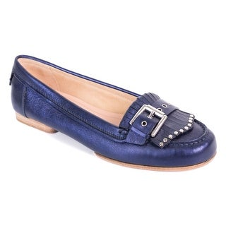 Gianvito Rossi Metallic Blue Leather Studded Buckle Moccasin