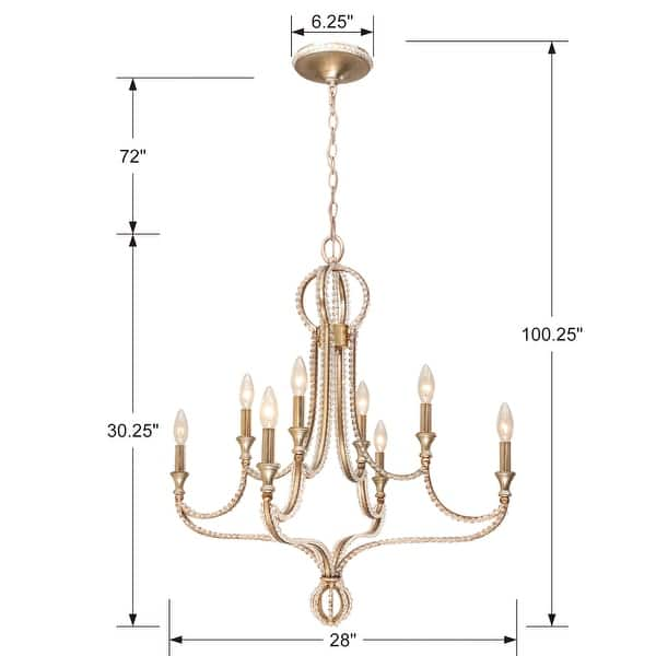 Garland 8 Light Crystal Bead Chandelier 28 W X 30 25 H 28 W X 30 25 H Overstock 10755961