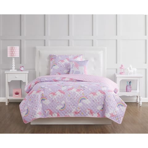 Porch & Den Nahcotta Unicorn and Rainbow 4-piece Quilt Set