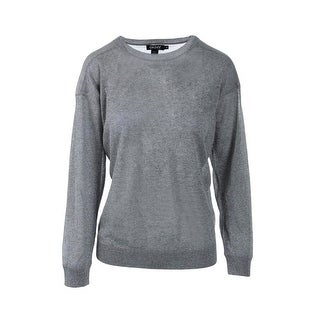DKNY Womens Metallic Ribbed Trim Pullover Top - L