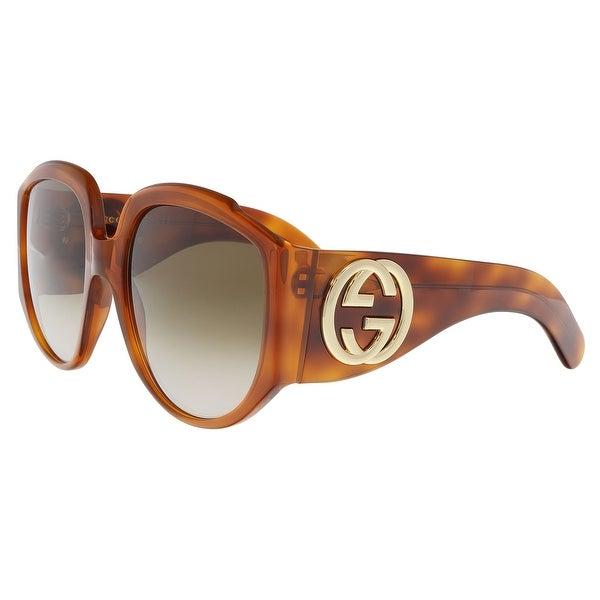 094407715381f Shop Gucci GG0151S-003 Havana Square Sunglasses - 61-21-140 - Free ...
