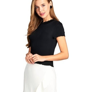 NE PEOPLE Women's Casual Short Sleeve Ribbed Ruffle Detailed Knit Top