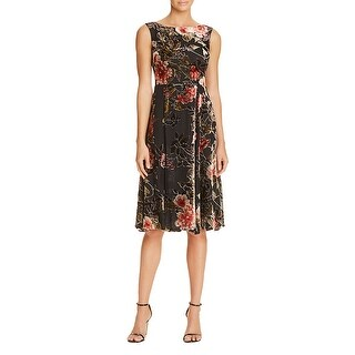 Betsey Johnson Sleeveless Midi Tea Length Velvet Dress with Bateau Neck (2 options available)
