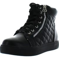 Pazzle Skate-01 Womens Quilted Lace Up Ankle High Sneakers