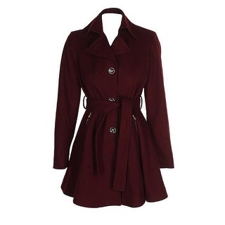 Inc International Concepts Cabernet Red Wool-Blend Skirted Belted Peacoat M