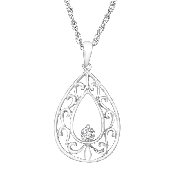 Filigree Teardrop Pendant with Diamond in Sterling Silver