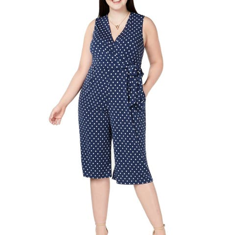 Jessica Howard Womens Jumpsuit Blue Size 1X Plus Polka Dot Print