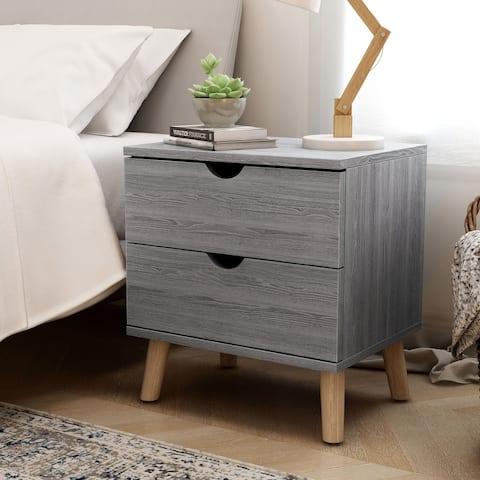 Carson Carrington Gjovik Contemporary Distressed Grey 2-drawer Nightstand