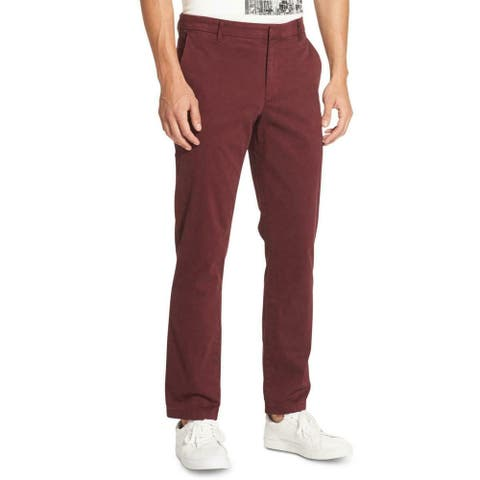 DKNY Mens Pants Red Size 38x30 Chino Slim Fit Straight Leg Stretch
