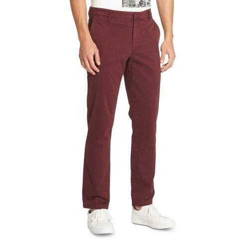 DKNY Mens Pants Red Size 38x32 Chino Slim Fit Straight Leg Stretch