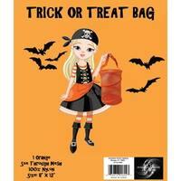 "Trick Or Treat Mesh Bag 8""X12""-Orange"