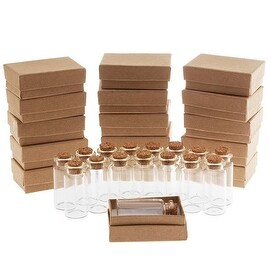 Clear Glass Bottle With Cork 50x22mm And Kraft Brown Jewelry Boxes (16 Pieces Of Each)