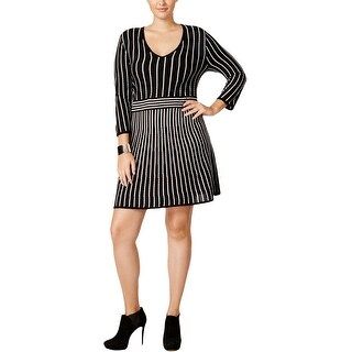 NY Collection Womens Plus Sweaterdress Acrylic Striped