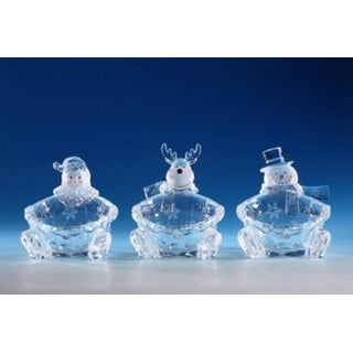 Pack of 6 Icy Crystal Decorative Christmas Candy Bowls 6""