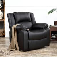Belleze Padded Recliner Chair Club Plush Leather Overstuffed Armrest Back, Black
