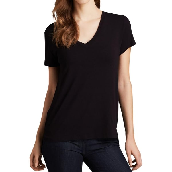 David Lerner Womens T-Shirt Stretch V-Neck