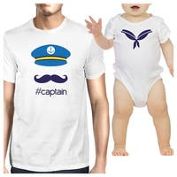 My Captain White Cute Design Dad Baby Boy Matching Shirts Dad Gifts