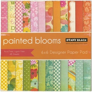 "Penny Black Single-Sided Paper Pad 6""X6"" 48/Pkg-Painted Blooms"