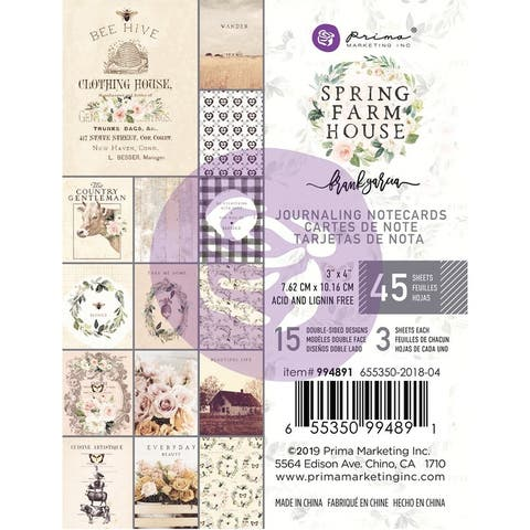 "Spring Farmhouse Journaling Cards Pad 3""X4"" 45/Pkg-15 Designs/3 Each"