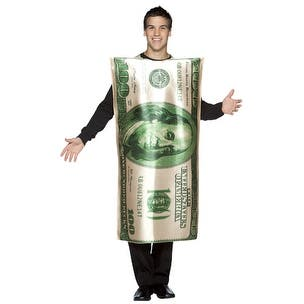 $100 Bill Adult 100 Dollar Halloween Costume - Standard - One Size