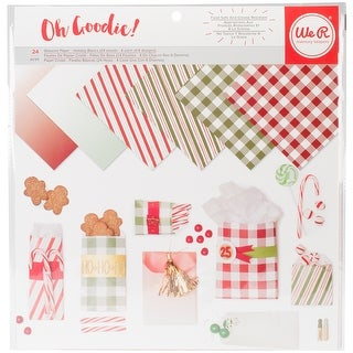 """We R Memory Keepers Glassine Paper Pack 12""""X12"""" 24/Pkg-Holiday Basics, 6 Designs/4 Each"""