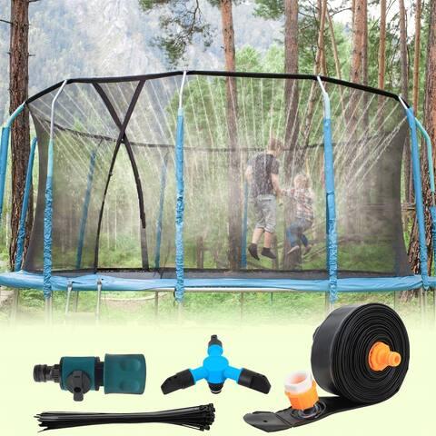 39FT PVC Trampoline Sprinkler with Rotating Sprinkler for Kids Outdoor Spary Water park
