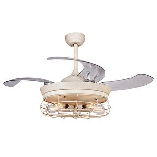 Vintage Foldable 4-Blades Disressed White Ceiling Fan with 5-Lights