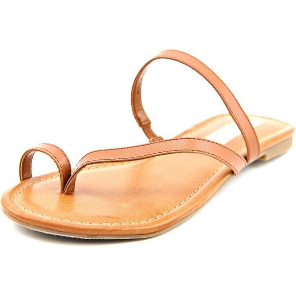 INC International Concepts Mistye Women Open Toe Leather Brown Thong Sandal