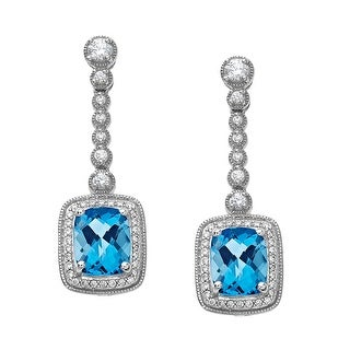 Drop Earrings with Blue and White Swarovski Zirconia in Sterling Silver