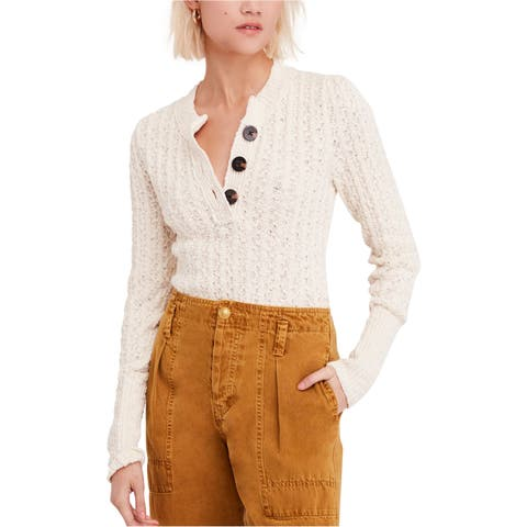Free People Womens All My Friends Henley Sweater