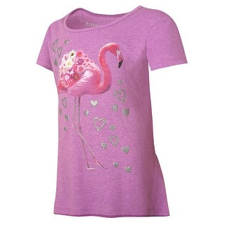 Hanes Girls' Pink Flamingo Peplum Tee - Size - M - Color - Pink Flamingo/Raspberry Shock Heather