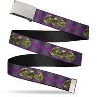 Blank Chrome Bo Buckle Snake Skin Bat Signal Plaid Grays Purple Web Belt