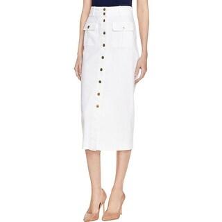 Bardot Womens Denim Skirt Button-Up Flap Pockets