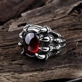 Vienna Jewelry Ruby Gem Stainless Steel Ring - Thumbnail 1