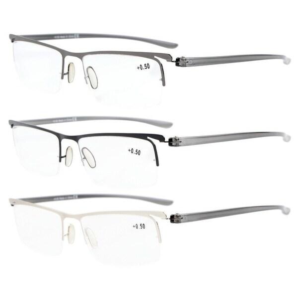 b27ea568a6a Eyekepper Men Women 3-Pack Plastic Temple Lightweight Half-rim Reading  Glasses+3.00