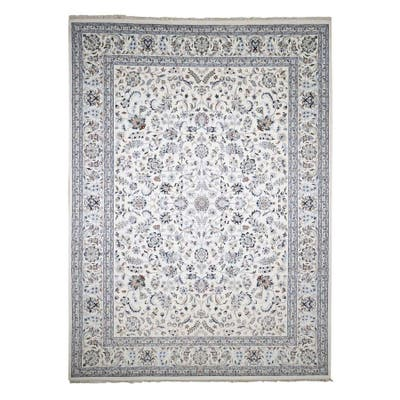 """Shahbanu Rugs Wool and Silk 250 KPSI Nain Ivory Hand Knotted All Over Flower Design Fine Oriental Rug (10'0"""" x 14'0"""")"""