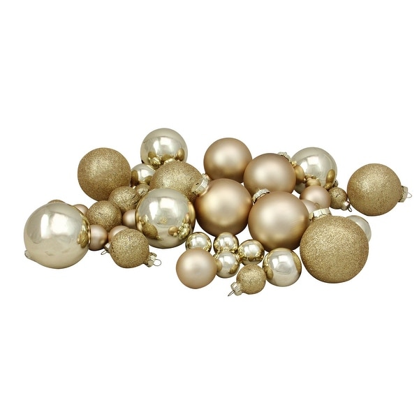 """40-Piece Gold Collection Glass Ball Christmas Ornament Set 1"""", 1.25"""", 2.5"""""""