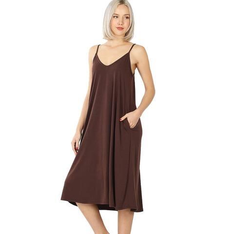 JED Women's Adjustable Strap Flowy Knee-Length Tank Dress