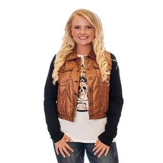 Cowgirl Tuff Western Vest Womens Denim Pockets Button Metallic F00328