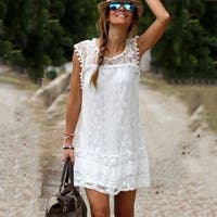 Women Casual Sleeveless Beach Short Dress Tassel Solid White Mini Lace Dress