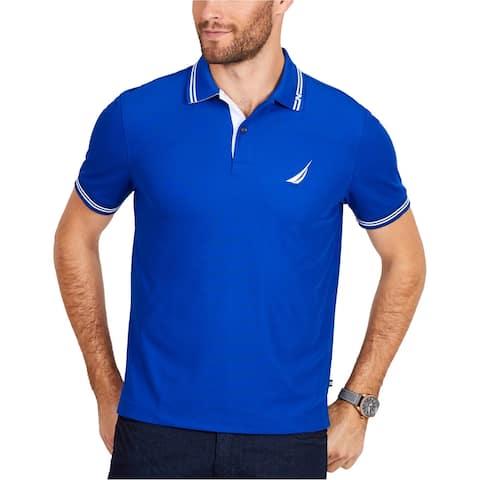 Nautica Mens Tech Rugby Polo Shirt, Blue, Small