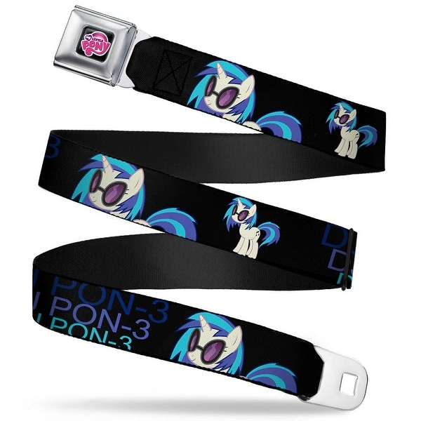 My Little Pony Logo Full Color Black Pink DJ Pon 3 Black Blues Webbing Seatbelt Belt