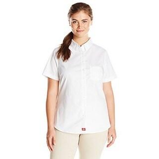 Dickies Womens Junior's Plus Size Short Sleeve Button Down Shirt - XxL